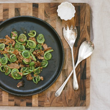 Fiddlehead ferns porcini square 360x360